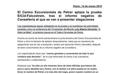 Comunicado Centro Excursionista de Petrer